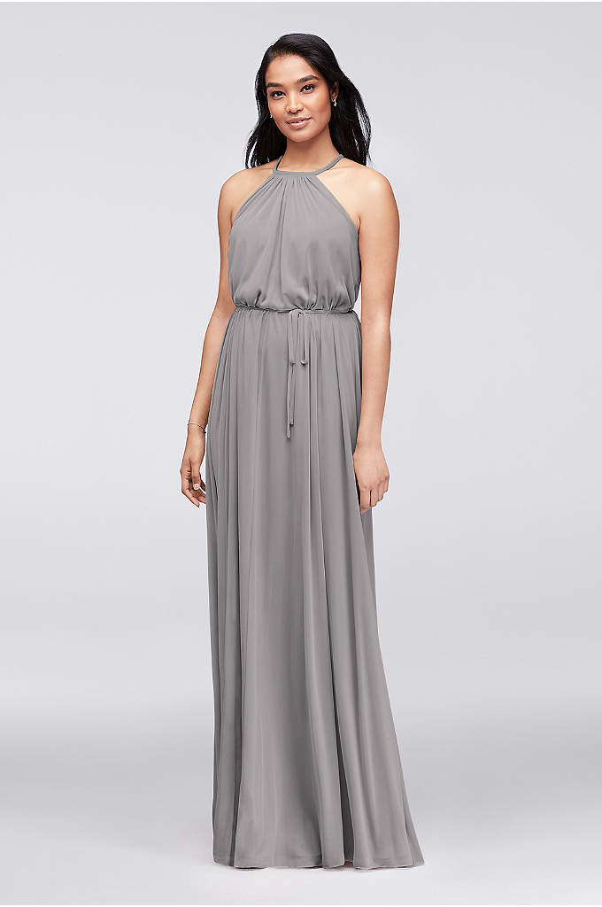 Soft Mesh Halter Bridesmaid Dress with Slim Sash - Soft, flowy, and versatile, this long mesh high-neck