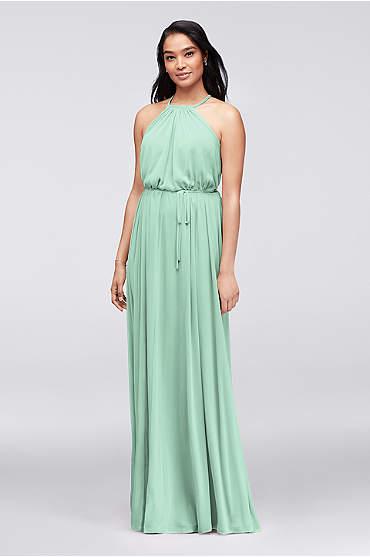 Soft Mesh Halter Bridesmaid Dress with Slim Sash