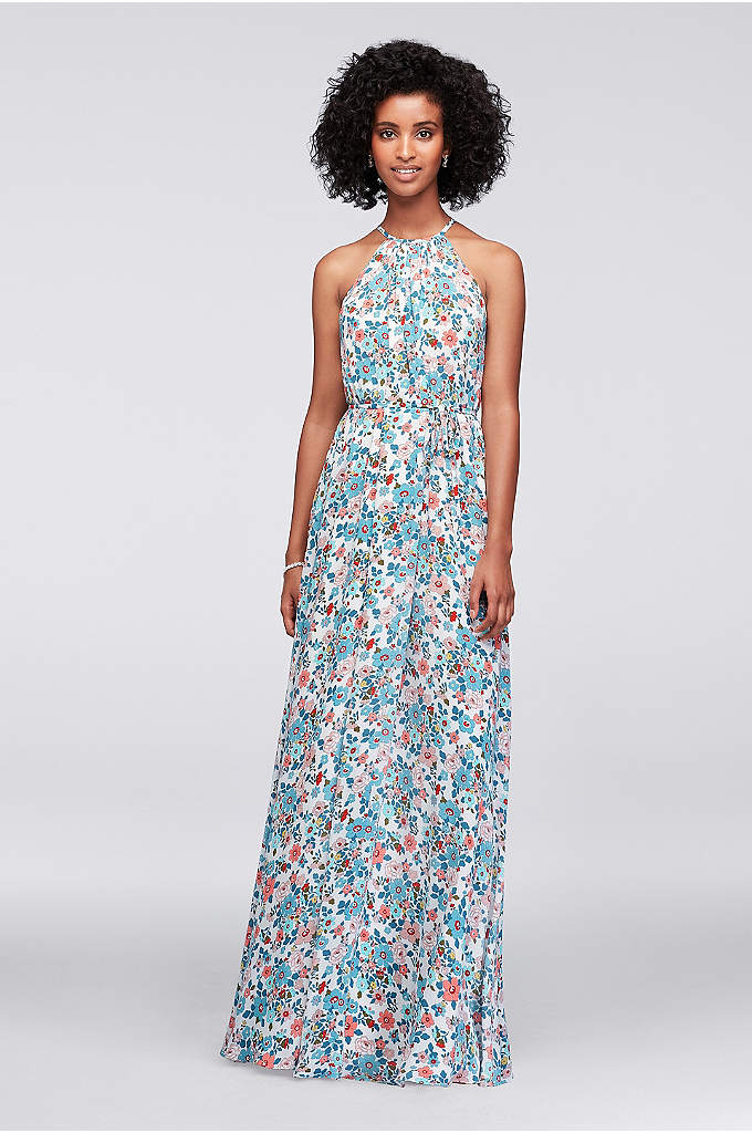 Printed Georgette Halter Bridesmaid Dress - Soft, flowy, and versatile, this printed georgette high-neck