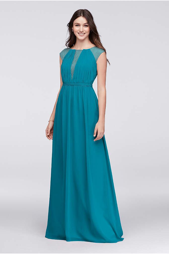 Chiffon Bridesmaid Dress with Chantilly Lace Inset - Inset with delicate Chantilly lace at the pleated,