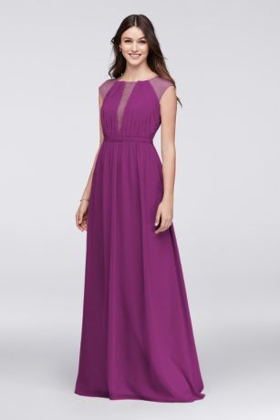 Chiffon Bridesmaid Dress With Chantilly Lace Inset