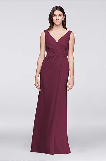 Faux-Wrap Pleated Chiffon Bridesmaid Dress