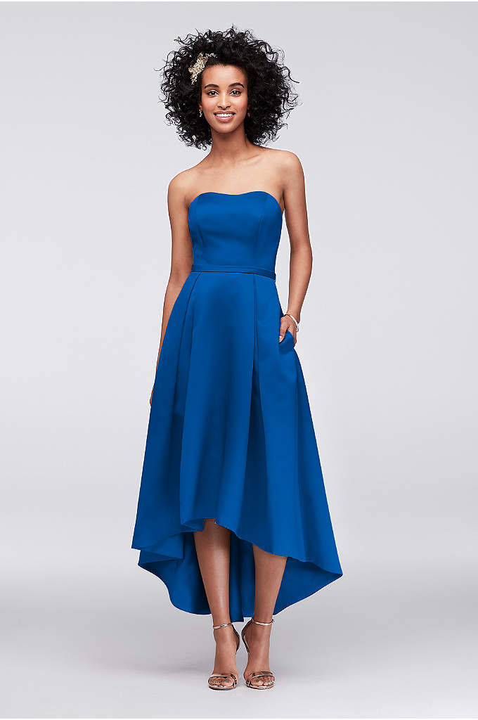 High-Low Satin Bridesmaid Dress with Pockets - A fresh silhouette with box pleats and side