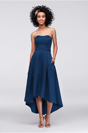 High-Low Satin Bridesmaid Dress with Pockets