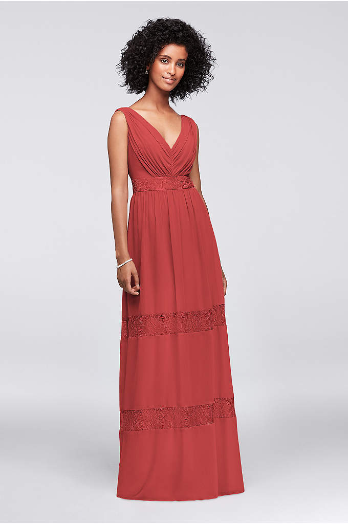 Lace-Inset Chiffon V-Neck Long Bridesmaid Dress - Simple and slightly boho, this crinkle-chiffon V-neck bridesmaid