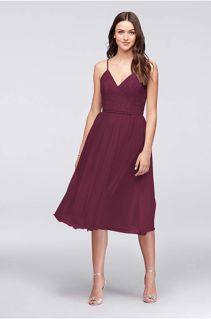 Chantilly Lace and Tulle Short Bridesmaid Dress - With a graceful feel, this Chantilly lace and