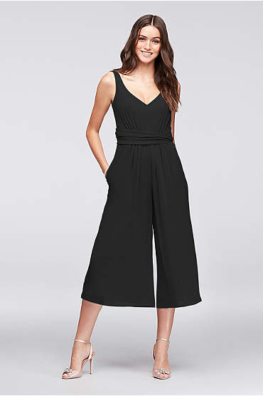 Tie-Back Crinkle Chiffon Bridesmaid Jumpsuit