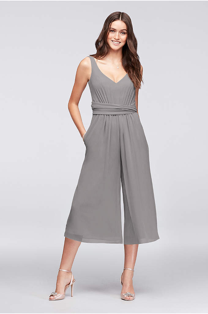 Tie-Back Crinkle Chiffon Bridesmaid Jumpsuit - Ready for an unexpected bridesmaid look? Finished with