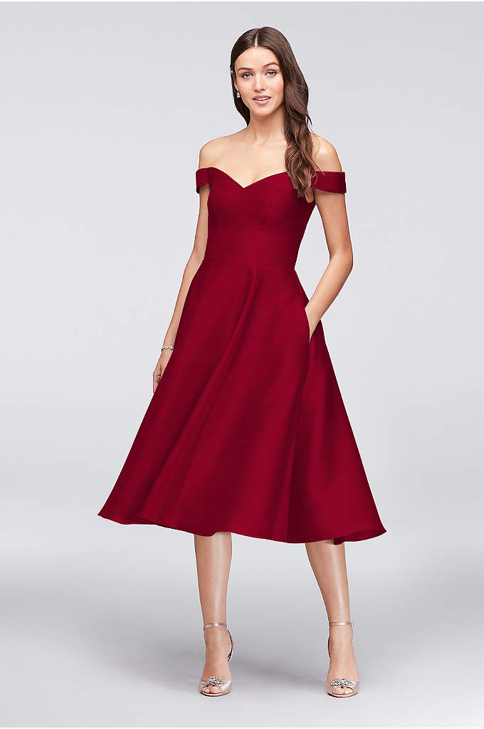 Off-the-Shoulder Tea-Length Bridesmaid Dress - For a sweet, almost retro vibe, choose this