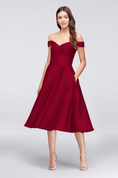 Off The Shoulder Tea Length Bridesmaid Dress David S Bridal
