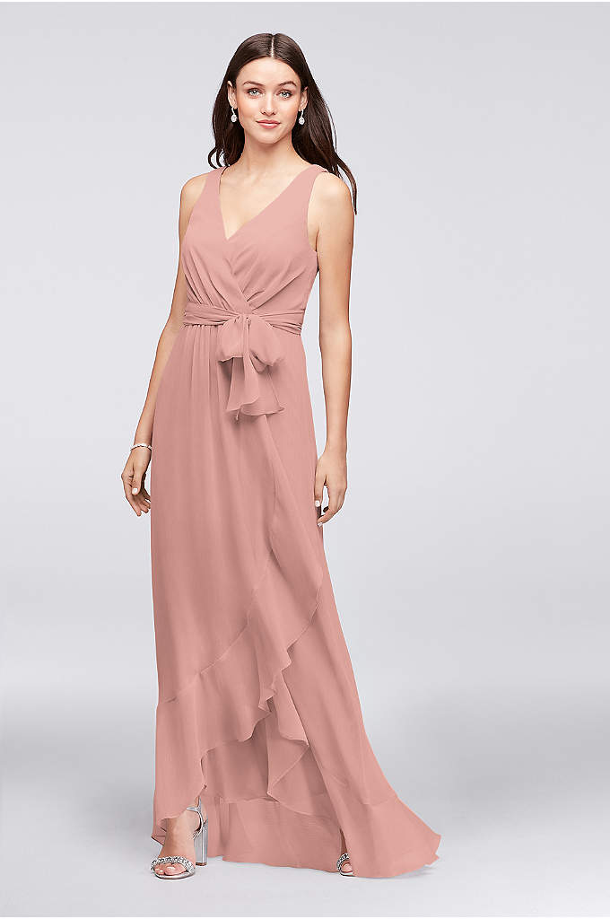 Ruffle-Trim Chiffon Faux-Wrap Bridesmaid Dress - Easy and breezy, this crinkle chiffon bridesmaid dress