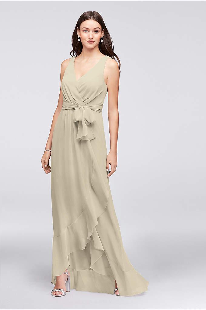 Ruffle-Trim Chiffon Faux-Wrap Bridesmaid Dress
