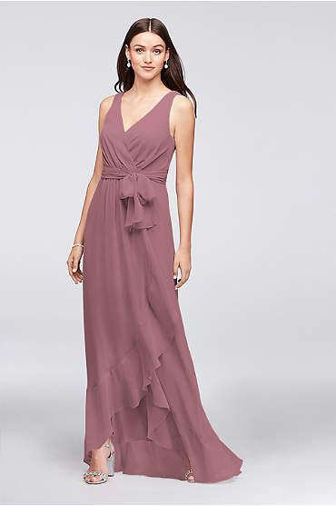 Ruffle-Trim Chiffon Faux-Wrap Bridesmaid Dress