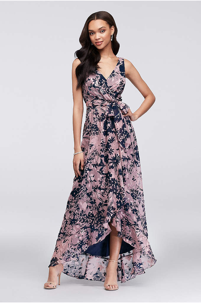 Printed Chiffon Faux-Wrap Bridesmaid Dress - Easy and breezy, this printed crinkle chiffon bridesmaid