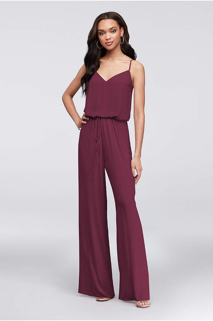 Flowy Wide-Leg Georgette Bridesmaid Jumpsuit - Who says bridesmaids need to wear dresses? Instead,