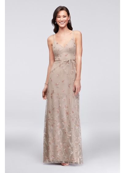 Long Brown Soft & Flowy David's Bridal Bridesmaid Dress