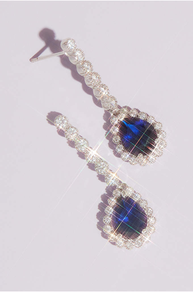 Pear Sapphire Drop Earrings - Timeless earrings featuring brilliantly blue pear-shaped cubic zirconia