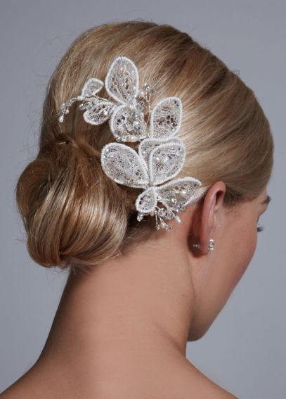 Beaded Lace Flower Clip F32219
