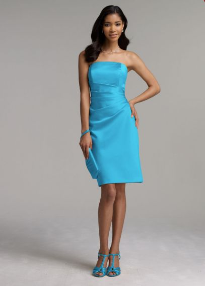 Short Satin Dress with Side Drape F44026