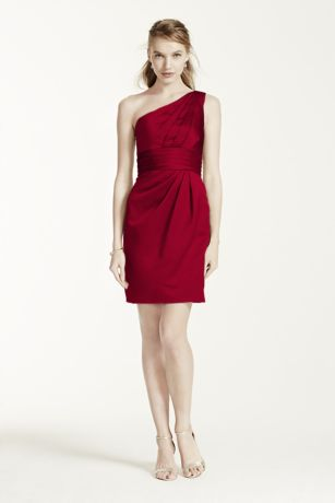 One Shoulder Satin Dress with Pleated Bodice - This one shoulder satin dress is modern and