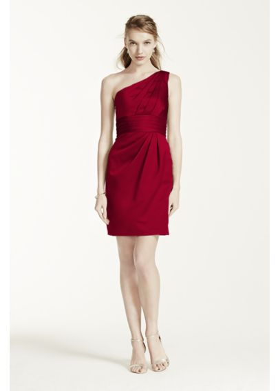 One Shoulder Satin Dress with Pleated Bodice F44358