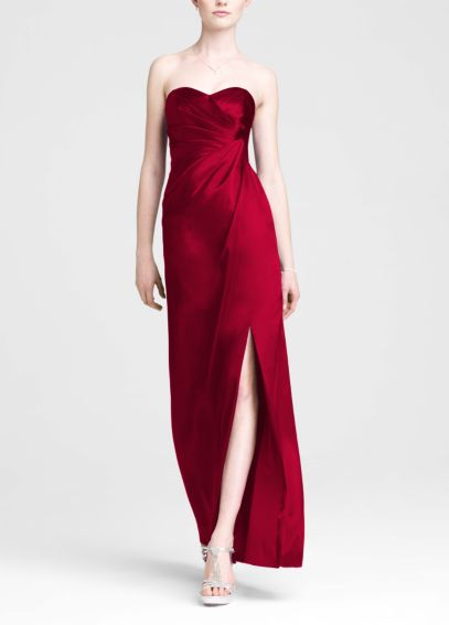 Strapless Long Charmeuse Dress with Slit F44447