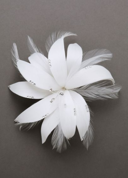 Feather Flower Hairpiece with Crystals F557