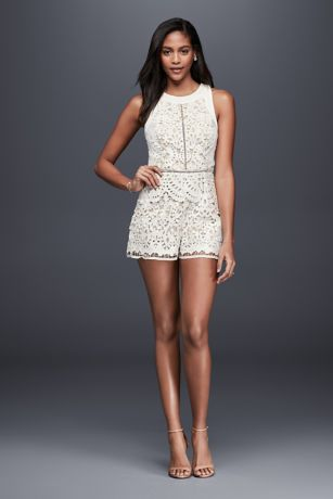 Laser Cut Lace Romper David S Bridal