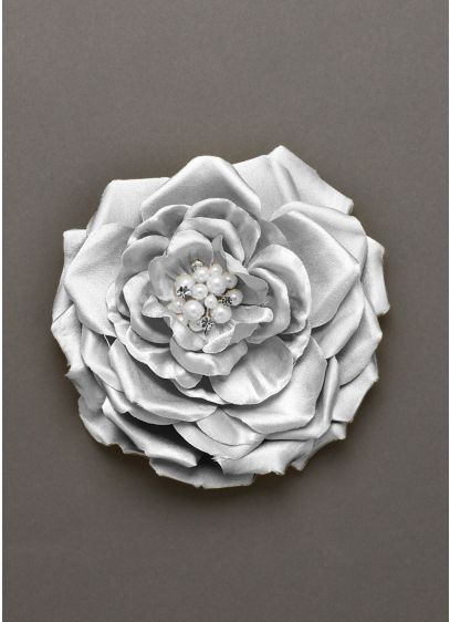 Fabric Flower Clip with Pearl and Crystal Center - Wedding Accessories