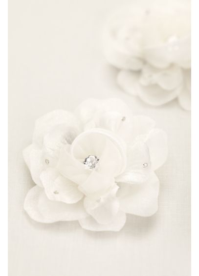 Organza Flower Clip with Crystal and Rhinestones - Wedding Accessories