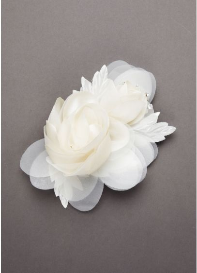 Double Rose Fabric Embellished Floral Headpiece - Wedding Accessories