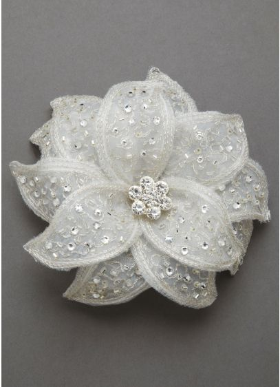 Fabric Flower Clip with Rhinestones - Wedding Accessories