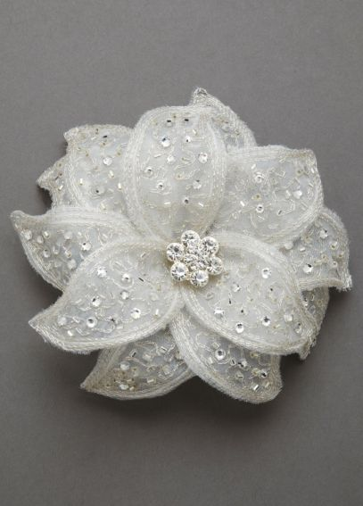 Fabric Flower Clip with Rhinestones F9042