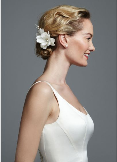 Small Satin Flower Pearl Spray - Wedding Accessories