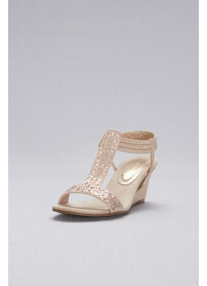 New York Transit Beige (Crystal-Studded Cutout T-Strap Wedges)