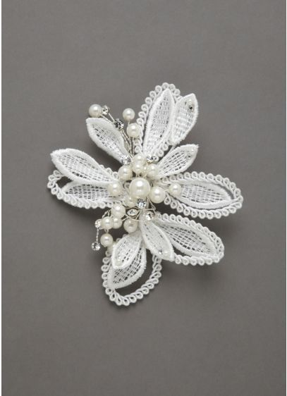 Lace Flower Clip Accented with Crystals and Pearls - Wedding Accessories