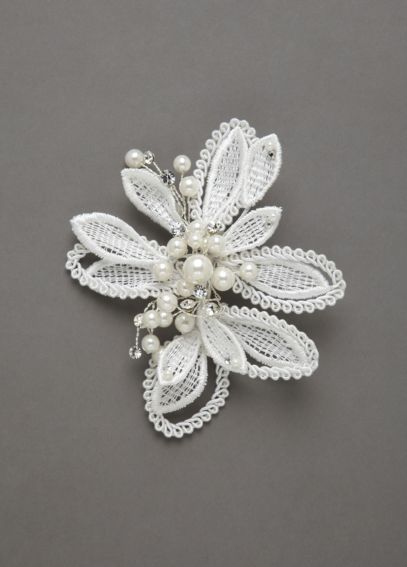 Lace Flower Clip Accented with Crystals and Pearls FDB2A155