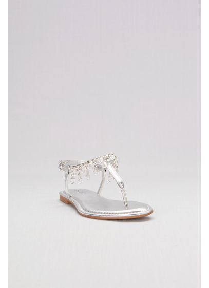 Grey (Flat Thong Sandals with Jeweled Ankle Strap)