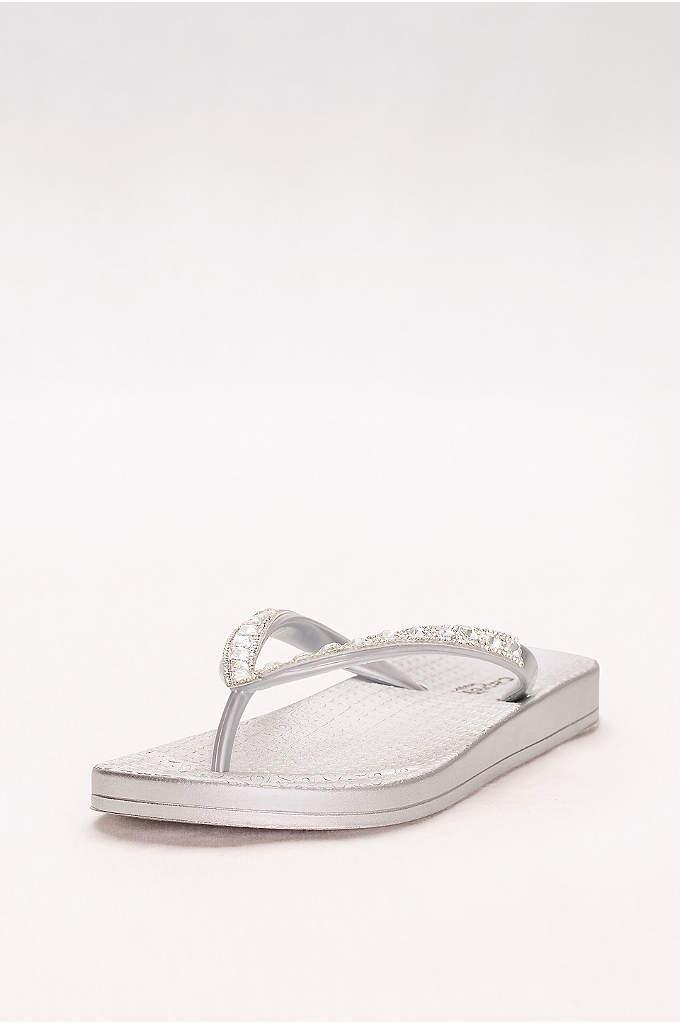 Molded Footbed Flip Flops with Bold Crystal Straps - Comfy contoured footbeds and bold crystal straps make