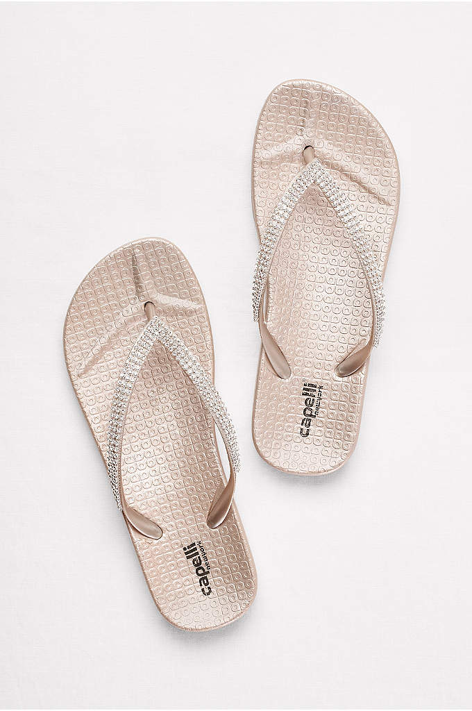 Molded Footbed Flip Flops with Tiny Crystal Straps - Comfy contoured footbeds and glittering crystal straps make