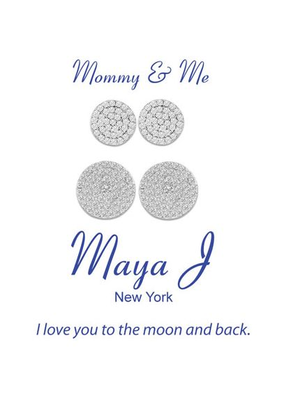 Mommy and Me Round Pave Disc Earrings FFSCZE1