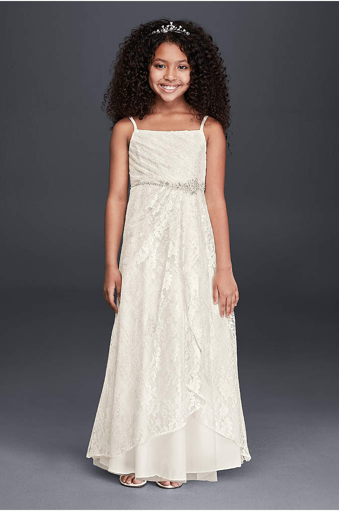 Spaghetti Strap Lace Dress with Beaded Detail