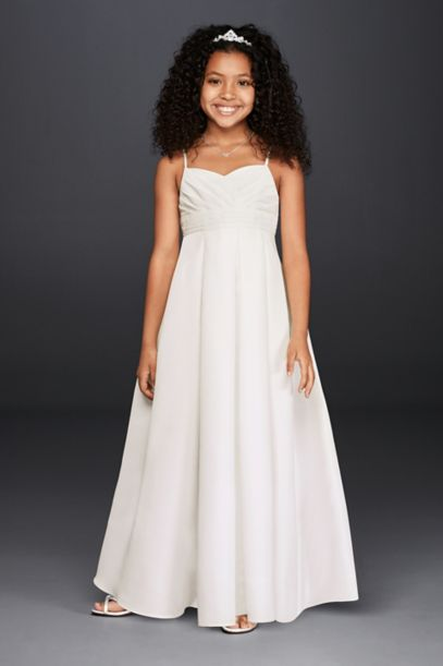 Full Length Flower Girl Dress with Straps | David's Bridal