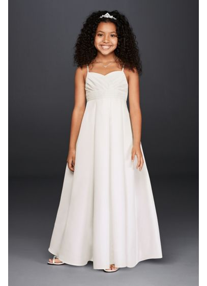 Long White Structured David's Bridal Bridesmaid Dress