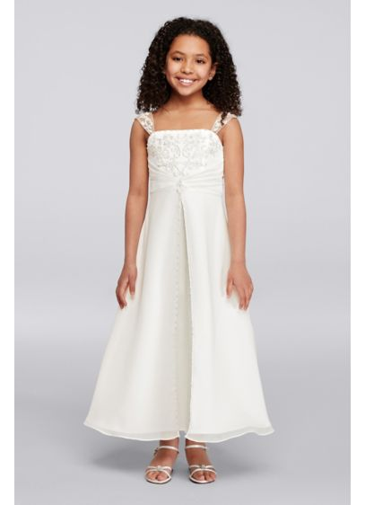 Long A-Line Cap Sleeves Communion Dress -