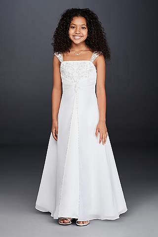 Vestido de Niña de Satín en Línea A con Pedrería Metálica