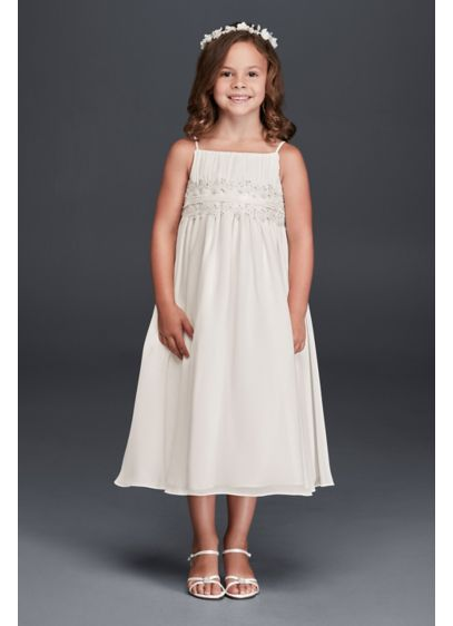 Short A-Line Spaghetti Strap Communion Dress -