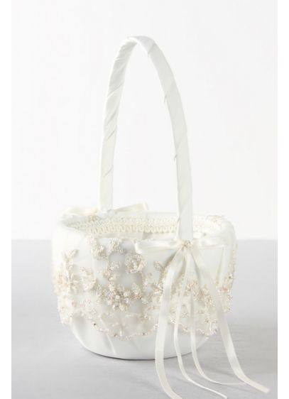 Ivory (DB Exclusive Beaded Lace Flower Girl Basket)