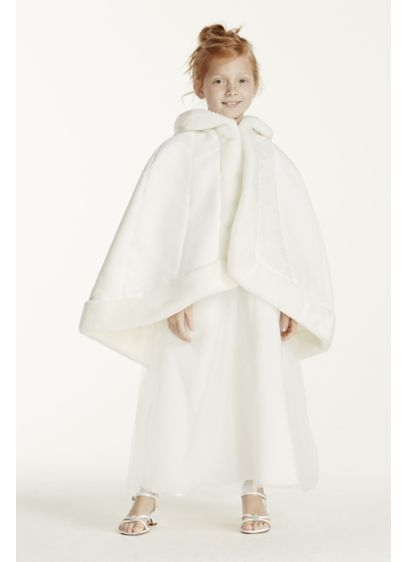 Flower Girl Cape with Faux Fur Trim - Wedding Accessories
