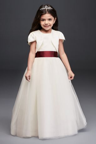 Satin Flower Girl Jacket | David's Bridal | Tuggl